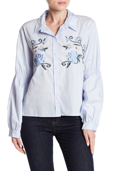 Imbracaminte Femei Sanctuary Embroidered Balloon Sleeve Shirt DUSTY BLUE