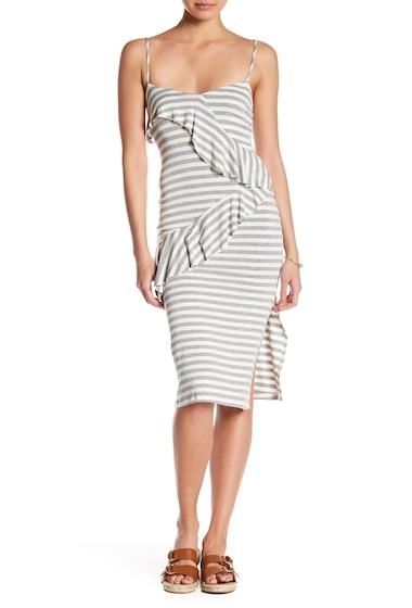 Imbracaminte Femei Velvet Torch Striped Ruffle Slip Dress HEATHER GREY WHITE