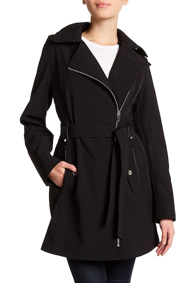 Imbracaminte Femei Via Spiga Asymmetrical Collar Belted Hooded Coat BLACK
