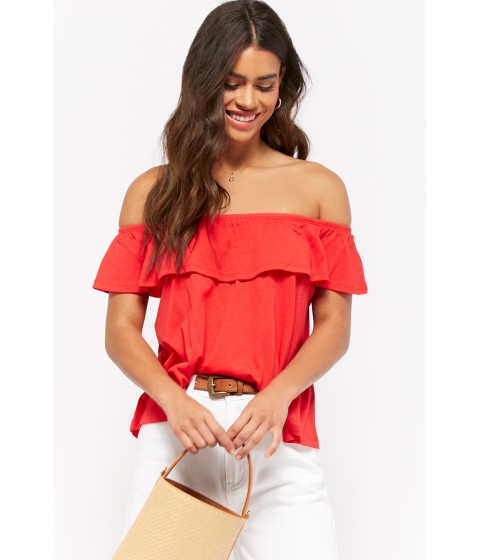 Imbracaminte Femei Forever21 Off-the-Shoulder Flounce Top TOMATO