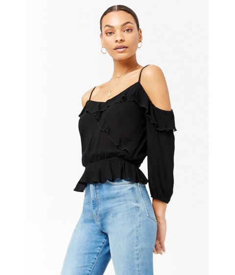 Imbracaminte Femei Forever21 Open-Shoulder Ruffle Top BLACK