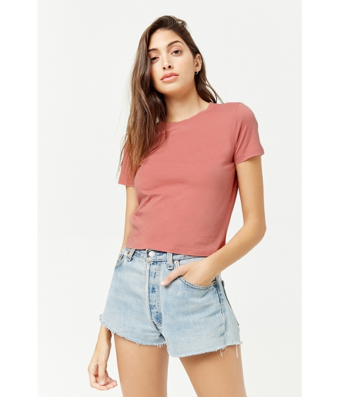 Imbracaminte Femei Forever21 Round Neck Tee ROSE