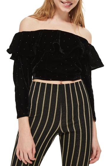 Imbracaminte Femei TOPSHOP Studded Off the Shoulder Velvet Top BLACK
