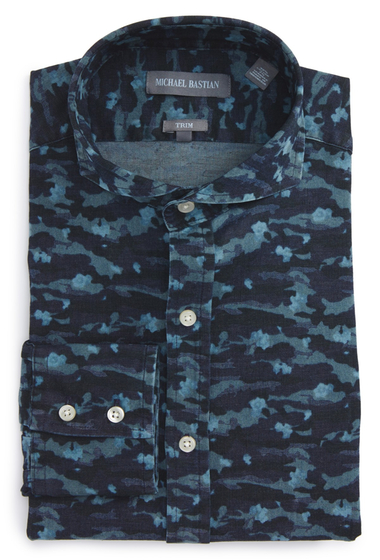 Imbracaminte Barbati MICHAEL BASTIAN Trim Fit Camo Print Dress Shirt BLUE