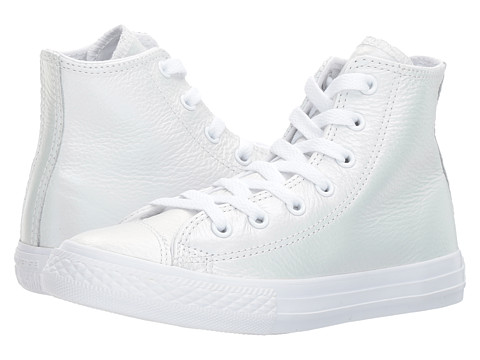 Incaltaminte Fete Converse Chuck Taylor All Star Iridescent Leather - Hi (Little Kid) WhiteWhiteWhite