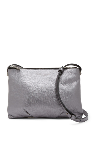 Genti Femei Marc Jacobs The Standard Metallic Leather Crossbody Bag ANTHRACITE