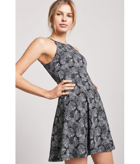 Imbracaminte Femei Forever21 Palm Leaf Print Halter Cami Dress BLACKGREEN