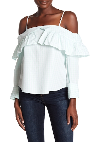 Imbracaminte Femei Abound Gingham Cold-Shoulder Blouse GREEN L LEX GNG