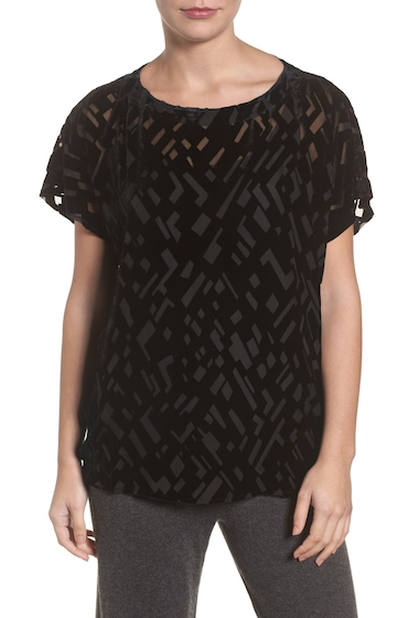Imbracaminte Femei Eileen Fisher Boxy Velvet Burnout Top BLACK