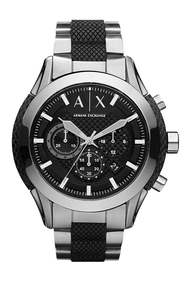 Ceasuri Barbati AX Armani Exchange Mens Zulu Bracelet Watch 47mm BLACK