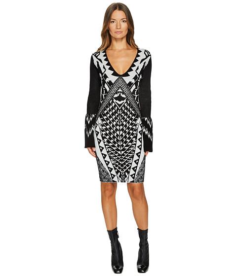 Imbracaminte Femei Just Cavalli Tribal Knit Long Sleeve Dress Ecru White