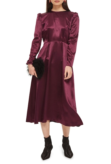 Imbracaminte Femei TOPSHOP Shimmer Satin Tie Back Midi Dress BURGUNDY