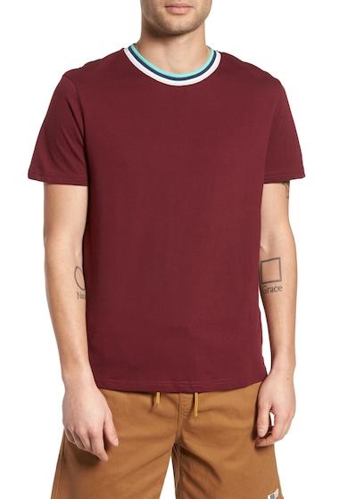 Imbracaminte Barbati TOPMAN Stripe Tipped Ringer T-Shirt BURGUNDY