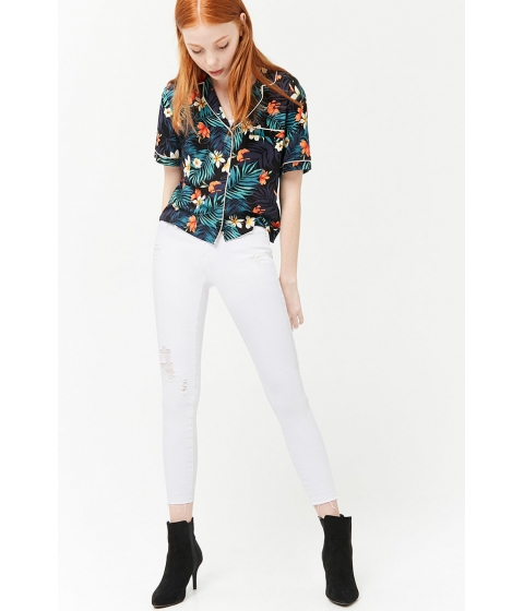 Imbracaminte Femei Forever21 Mid-Rise Distressed Skinny Jeans WHITE