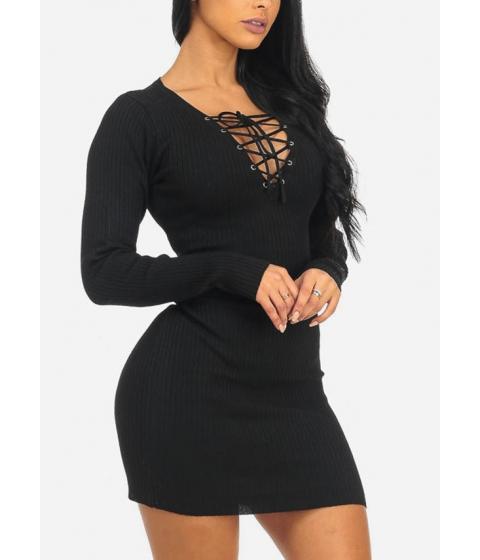 Imbracaminte Femei CheapChic Sexy Long Sleeve Black Lace Up V-Neck Above Knee Stylish Dress Multicolor