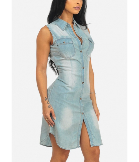 Imbracaminte Femei CheapChic Womens Light Wash Sleeveless Button Up Knee Length Dress Multicolor