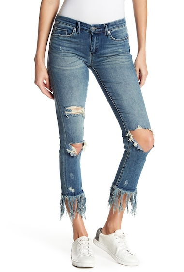 Imbracaminte Femei BLANKNYC Denim Deconstructed Fray Hem Skinny Jeans FRINGE BINGE