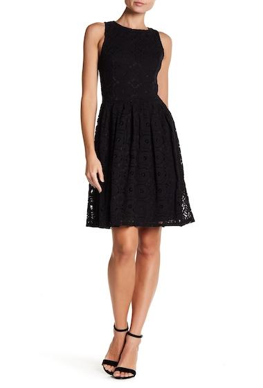 Imbracaminte Femei H By Bordeaux Sleeveless Lace Flare Dress BLACK