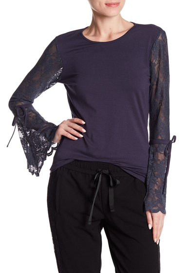 Imbracaminte Femei Vince Camuto Lace Bell Sleeve Blouse CREW NAVY