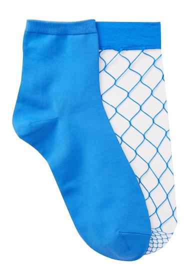 Accesorii Femei Free Press Open Fishnet Crew Socks - Pack of 2 BLUE PALACE
