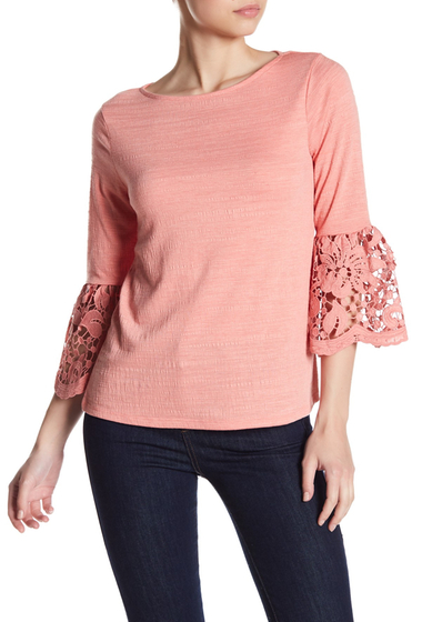 Imbracaminte Femei Cable Gauge 34 Length Lace Sleeve Shirt CORALBLISS