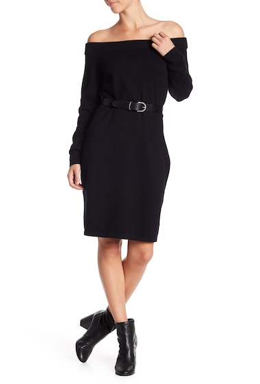 Imbracaminte Femei Vince Camuto Long Sleeve Off-the-Shoulder Sweater Dress RICH BLACK