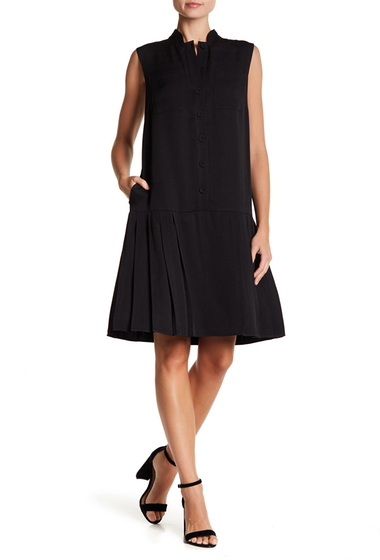 Imbracaminte Femei Lafayette 148 New York Minka Pleated Drop Waist Dress BLACK