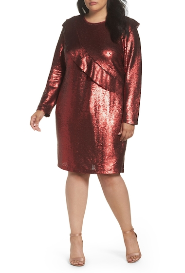Imbracaminte Femei GLAMOROUS Sequin Ruffle Dress Plus Size RED SEQUIN