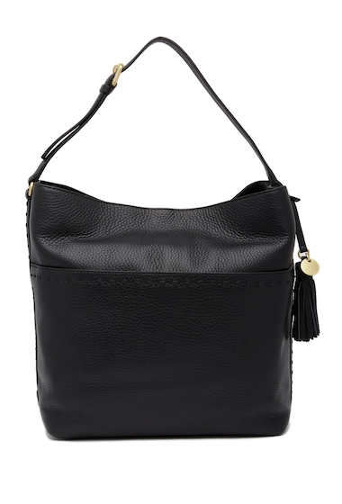 Genti Femei Cole Haan Ivy Pic-Stitch Collection Square Leather Shoulder Bag BLACK