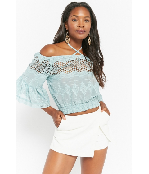 Imbracaminte Femei Forever21 Crochet Off-the-Shoulder Top BLUE