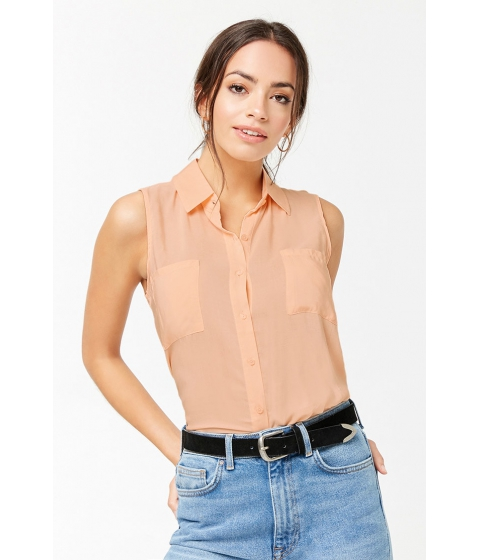 Imbracaminte Femei Forever21 Sleeveless Pocket Shirt PEACH