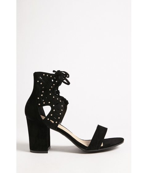 Incaltaminte Femei Forever21 Yoki Shoes Studded Faux Suede Heels BLACK