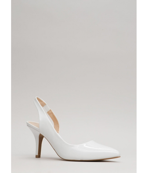 Incaltaminte Femei CheapChic One-sided Argument Slingback Heels White