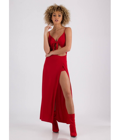 Imbracaminte Femei CheapChic Summer Nights Slit Tie-front Maxi Dress Red