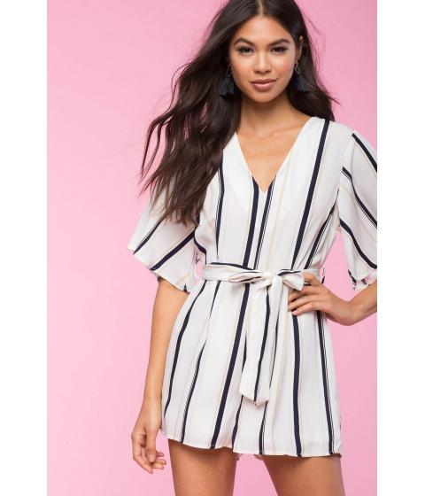 Imbracaminte Femei CheapChic Tie Front Stripe Romper White Pattern