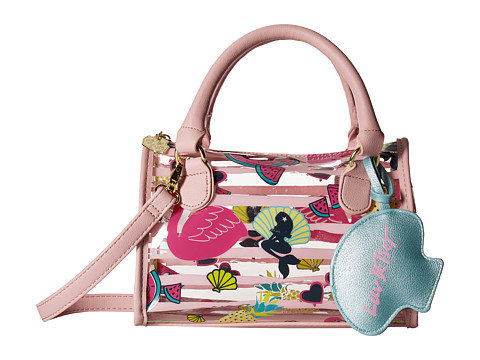 Genti Femei Luv Betsey by Betsey Johnson Sydney Clear Mini Barrel Satchel Flamingo