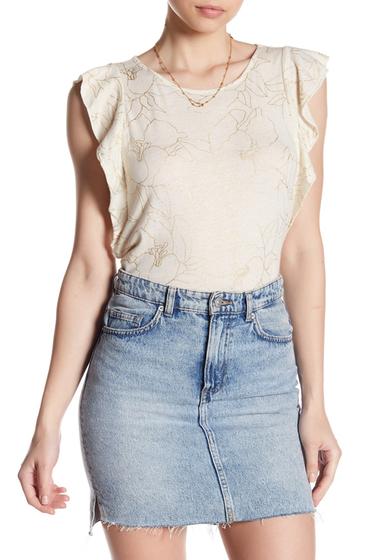 Imbracaminte Femei Lucky Brand Ruffle Sleeve Metallic Printed Shirt NATURAL MU