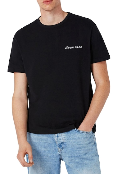 Imbracaminte Barbati TOPMAN Not Me Embroidery T-Shirt BLACK