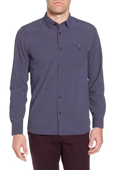 Imbracaminte Barbati Ted Baker London Wyne Slim Fit Polynosic Geo Print Sport Shirt DARK BLUE