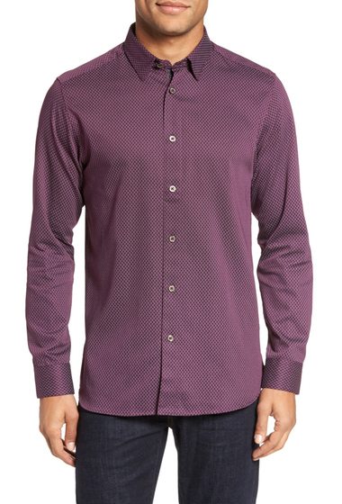 Imbracaminte Barbati Ted Baker London Modern Slim Fit Print Sport Shirt PURPLE