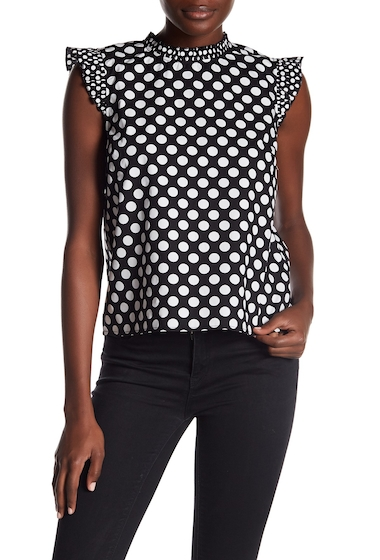 Imbracaminte Femei 14th Union Polka Dot Ruffle Sleeve Blouse BLACK POLKA PREP MIX