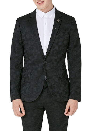 Imbracaminte Barbati TOPMAN Shadow Camo Ultra Skinny Fit Suit Jacket GREY MULTI