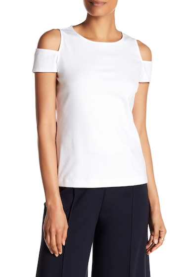 Imbracaminte Femei Lafayette 148 New York Cold-Shoulder Crew Tee WHITE