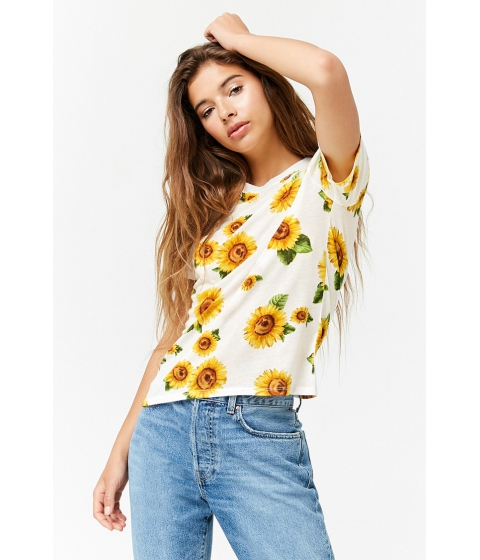 Imbracaminte Femei Forever21 Sunflower Graphic Tee CREAMYELLOW