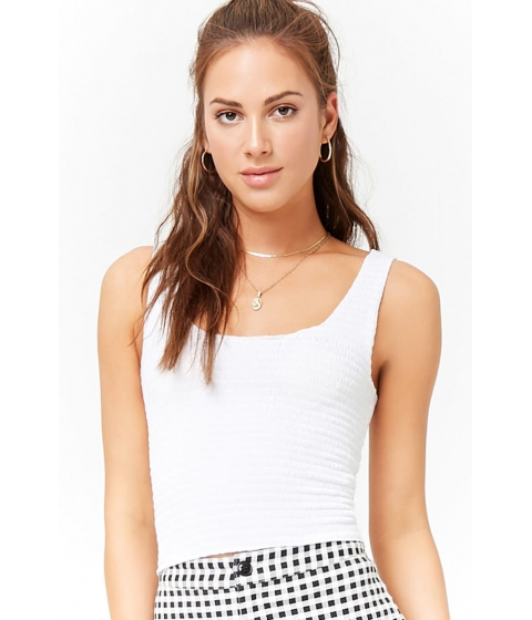 Imbracaminte Femei Forever21 Smocked Crop Top WHITE