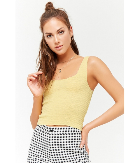 Imbracaminte Femei Forever21 Smocked Crop Top LIGHT YELLOW