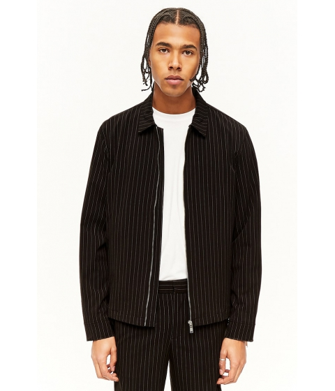 Imbracaminte Barbati Forever21 Pinstriped Zip-Sleeve Jacket BLACKWHITE