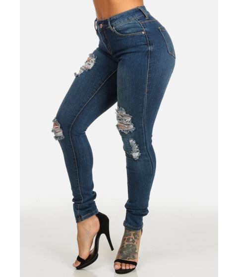 Imbracaminte Femei CheapChic Med Wash Orange Stitching Slim High Waist Distressed Jeans Multicolor