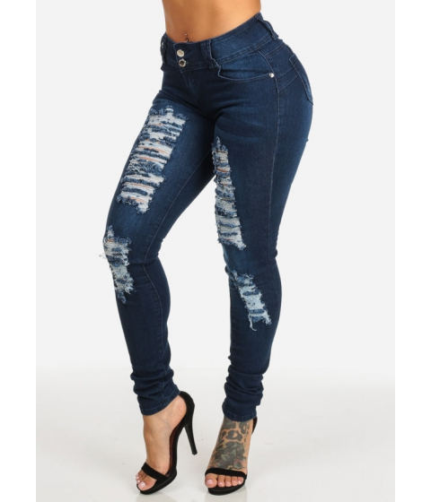Imbracaminte Femei CheapChic Butt Lifting Dark Wash 2-Button High Rise Ripped Skinny Jeans Multicolor