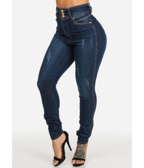 Imbracaminte Femei CheapChic Butt Lift Design High Waist Dark Wash Skinny Jeans Multicolor